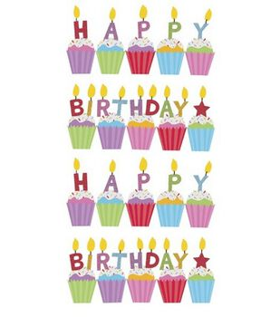 EK Success Sticko Stickers-Birthday Cakes Glitter