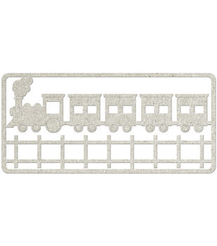 Fabscraps Choo Choo Train & Tracks Die-Cut Gray Chipboard Embellishments