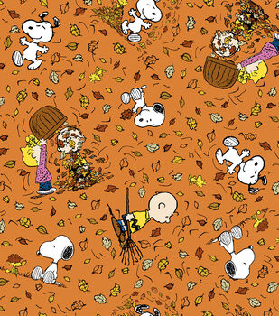 Autumn Inspirations Peanuts Falling Leaves Fabric