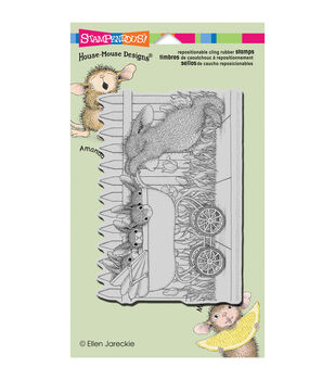 Stampendous HappyHopper Baby Buggy Bunnies Cling Rubber Stamp