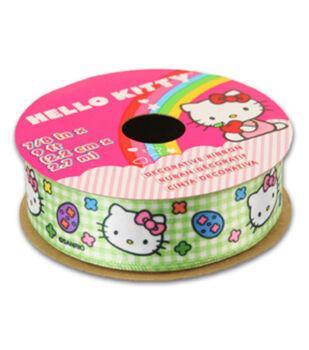 Hello Kitty Easter Ribbon-Green Plaid