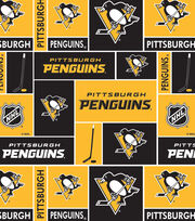 Pittsburgh Penguins NHL Block Fleece Fabric, , hi-res