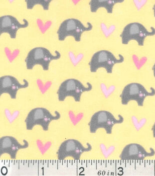 Nursery Flannel Fabric-Dream Big Mini Elephant Yellow