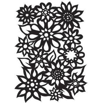 Ranger Dyan Reaveley's Dylusions Stencils Flower Medley 9''x12''