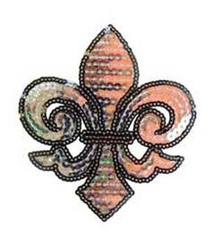 Plaid ® Sequin Iron-On Transfers - Silver Fleur de Lis