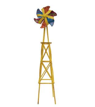 Fairy Garden Metal Windmill Tower-Yellow