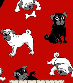 Anti Pill Fleece Fabric-Puppies Red Black