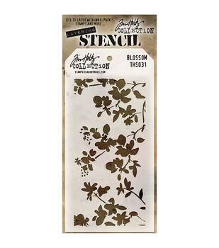 "Tim Holtz® 4.125""X8.5"" Layered Stencil-Blossom"