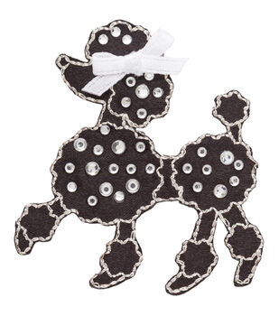 Simplicity Iron-On Applique-Jeweled Black Poodle W/Rhinestones