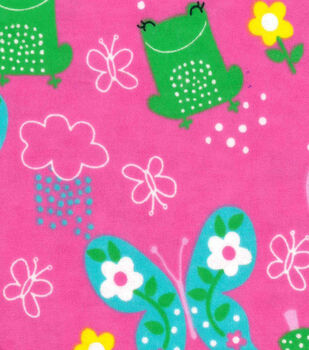 Snuggle Flannel Fabric-Frogs & Butterflies