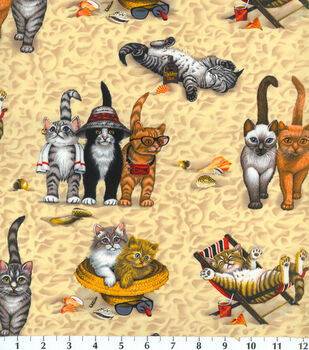 Novelty Cotton Fabric-Kittens At The Beach