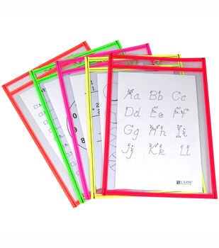 C-Line Reusable Dry Erase Pockets Assorted Neon Colors 10 Per Package
