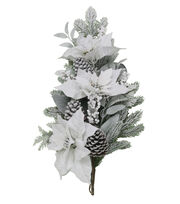 Blooming Holiday 28'' Snow Poinsettia Teardrop-White, , hi-res