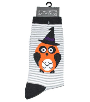 Maker's Halloween Socks-Owl Stripe Crew