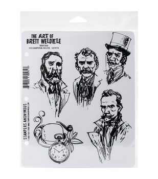Stampers Anonymous Steampunk Selfie Gents Cling Rubber Stamps