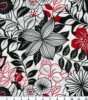 Keepsake Calico™ Cotton Fabric-Lg Flowers Blk Wht Red, , hi-res