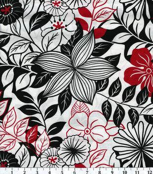 Keepsake Calico™ Cotton Fabric-Lg Flowers Blk Wht Red