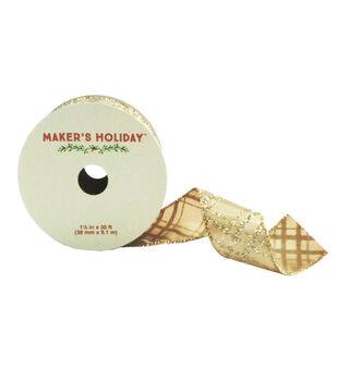 Maker's Holiday 1.5'' X 30' Ribbon-Diamond Plaid