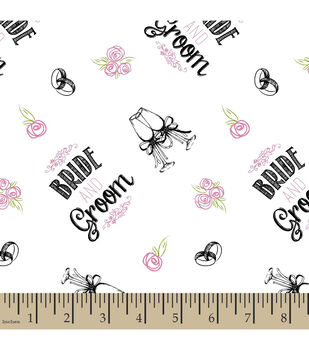 Snuggle Flannel Fabric-Bride And Groom Toss White