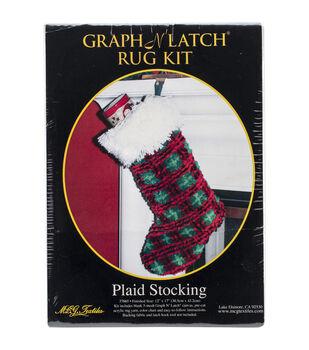 "Latch Hook Kit 12""X17""-Plaid Stocking"