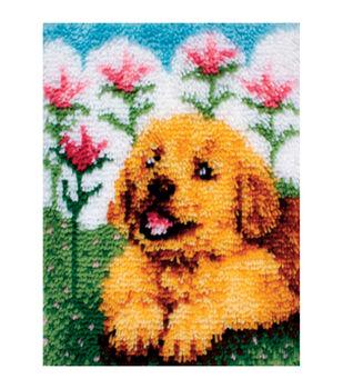 "Wonderart Latch Hook Kit 15""X20""-Flower Pup"