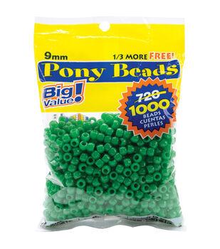 Pony Bead Big Value Pack 9mm 1000/Pkg-Opaque Green
