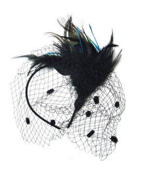 Maker's Halloween Deluxe Peacock Headband With Net