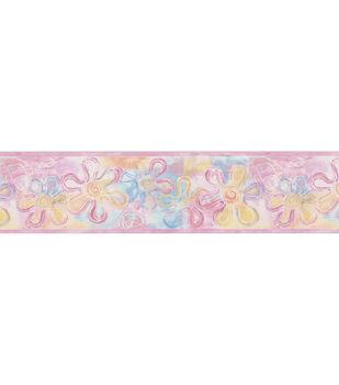 Flower Stamps Wallpaper Border, Pink Sample