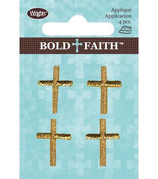 Wrights Bold Faith Iron-On Appliques-Metallic Mini Gold Cross