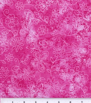 Keepsake Calico™ Cotton Fabric-Sundrenched Butterfly Flowers Pink