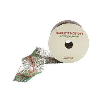 Maker's Holiday 1.5'' X 30' Ribbon-Red And Green Garland