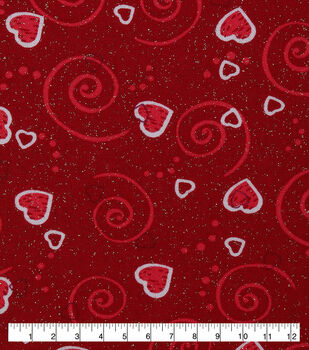 Valentine Print Fabric-Hearts N Scrolls Red Glitter