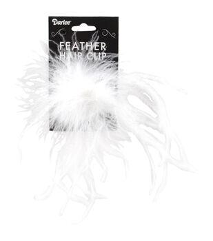 WHITE  -OST FEATHR HAIR CLIP