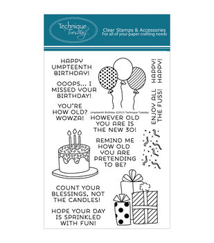 Technique Tuesday Umpteenth Birthday Clear Stamps