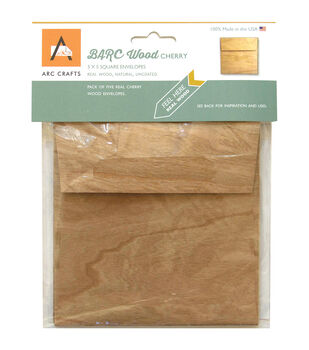 Arc Crafts BARC Wood Veneer 5ct 5''x5'' Envelopes-Cherry