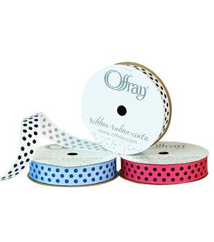 "Offray 5/8""x9' Confetti Dots Grosgrain Ribbon"