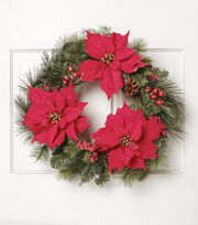 Blooming Holiday 22'' Poinsettia Pinecones & Berries Wreath, , hi-res
