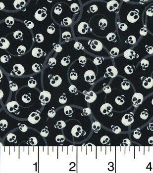 Halloween Cotton Fabric-Mini Tossed Skulls Glow
