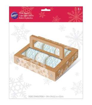 Wilton® Treat Boxes W/Handle 3/Pkg-Kraft Snowflake