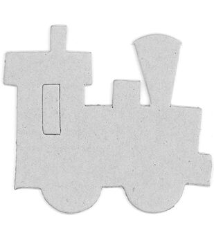 Fabscraps Train Die-Cut Gray Chipboard Embellishments