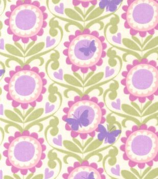 Nursery Fabric- Flower With Butterfly Flannel