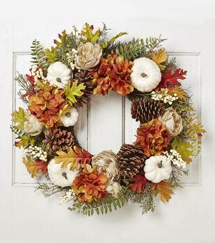 Blooming Autumn Hydrangea, Pinecone, Pumpkin, Berry & Oak Leaf Wreath
