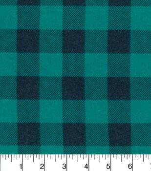 Snuggle Flannel Fabric-Teal Buffalo Check