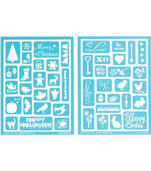 Martha Stewart Adhesive Stencils 2 Sheets/Pk-Holiday Icons II