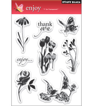 "Penny Black Clear Stamps 5""X7.5"" Sheet-Enjoy"