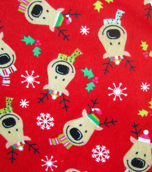 Holiday Inspirations Fabric-Reindeer On Red Flannel