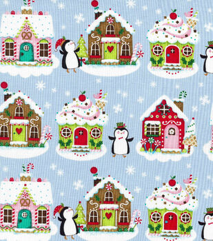Christmas Cotton Fabric-Penguins  &  Gingerbread Houses