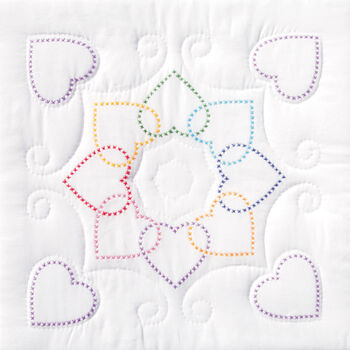 "Stamped White Quilt Blocks 18""X18"" 6/Pkg- Hearts Circle"