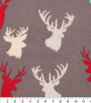 Blizzard Fleece Fabric-Stag Head Multi Color Allover