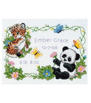 Dimensions Birth Record Stamped Cross Stitch Baby Animals